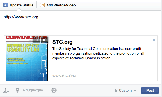 Facebook Preview Box: STC Website