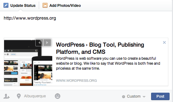 Facebook Preview Box: WordPress