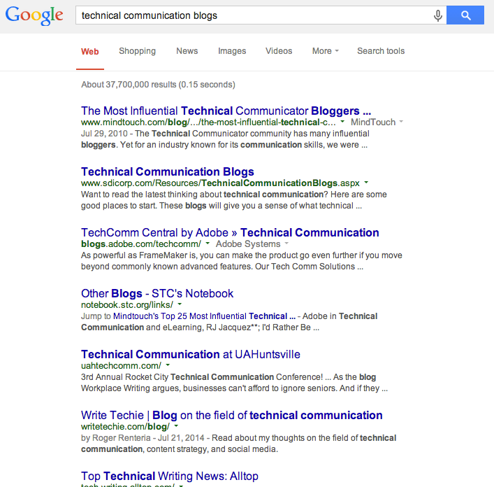 "Searching for ""technical communication blogs"""
